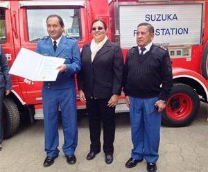 SGR entrega motobomba a Cuerpo de Bomberos de Chimbo