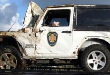 Choca camioneta de Bomberos contra otro vehiculo
