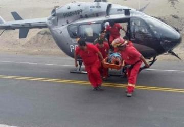 Bomberos realizaron rescate en el serpentín de Pasamayo