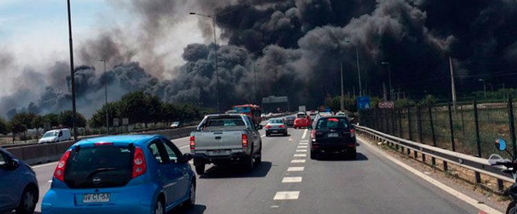 Incendio en las cercanías del aeropuerto de Santiago