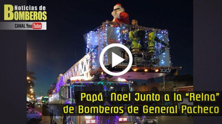 """ESPECIALES: Papá Noel junto a la """"Reina"""" de Bomberos de General Pacheco"""