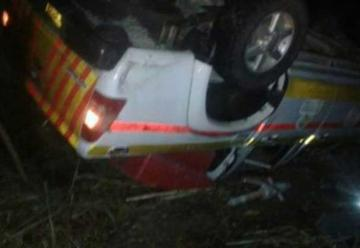 Se volcó el carro de bomberos de Marmato
