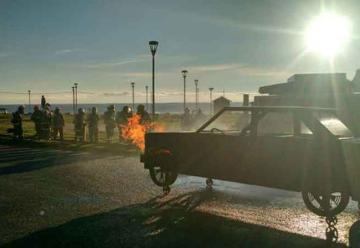 Simulador móvil de fuego en vehículo capacitó a voluntarios