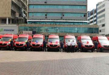 Ambulancias de los Bomberos en Cali se encuentran paradas