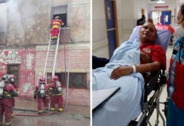 Bombero resultó herido durante rescate de atrapados en incendio