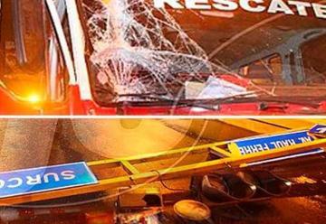 Bomberos se chocan contra semáforo de camino a emergencia