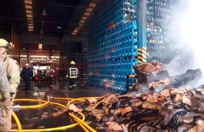 Se incendió el depósito de una cervecería