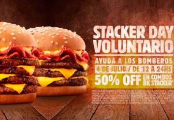 Burger King Ayuda a los bomberos: 50% OFF en tu combo Stacker