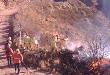 Evolucionan favorablemente los bomberos del incendio de Andalgalá