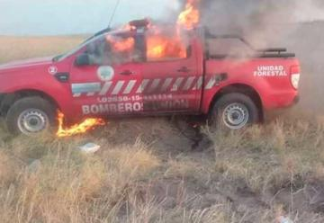 Bomberos Voluntarios Unión pierden camioneta en incendio