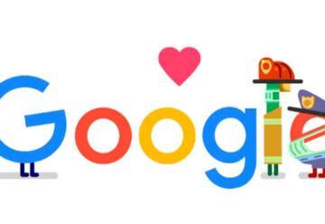Google agradece el trabajo de bomberos y policías con un doodle