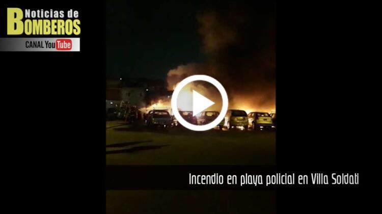 Incendio en playa policial en Villa Soldati