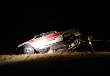 Una unidad de bomberos voluntarios de Merlo sufrió un vuelco