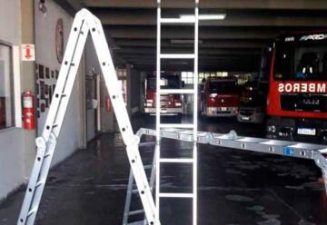 Los Bomberos Voluntarios sumaron escaleras articuladas