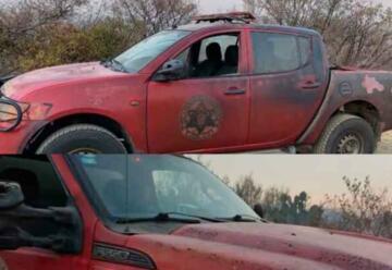Dos unidades de Bomberos resultaron dañadas en incendio forestal