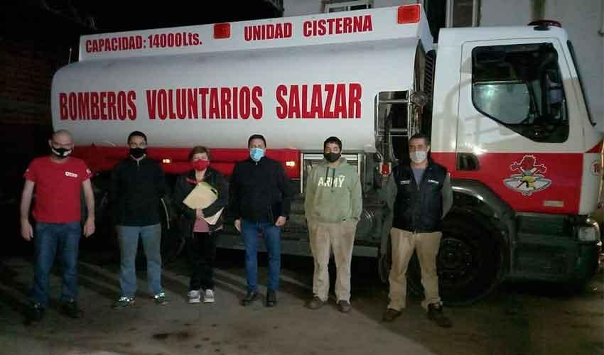 Bomberos Voluntarios de Salazar con nuevo cisterna
