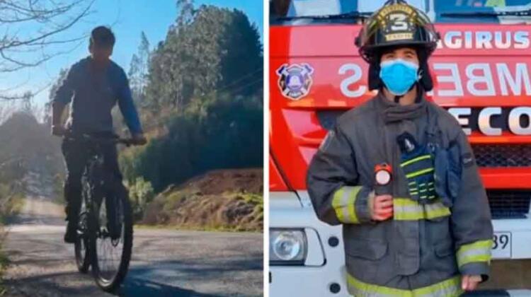 Joven bombero se traslada en bicicleta a cubrir emergencias