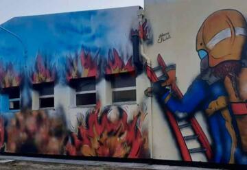 Se inauguró un mural dedicado a los Bomberos de Sáenz Peña