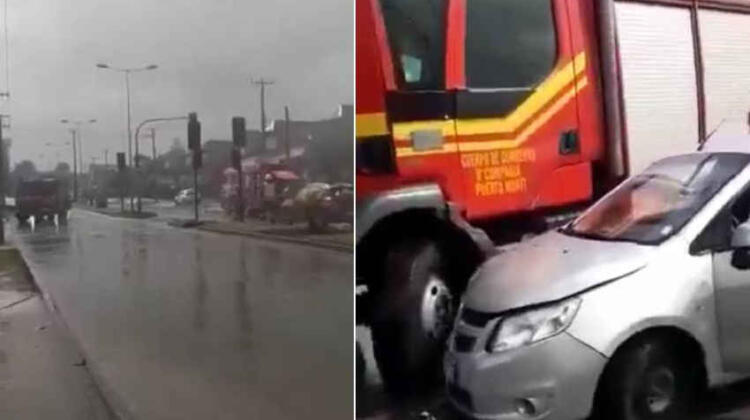 Fuerte choque entre auto y carro de Bomberos en Puerto Montt