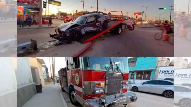 Fuerte accidente entre camión de bomberos y vehículo